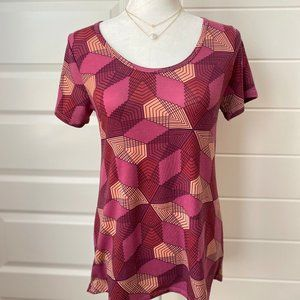 Lularoe Classic T Pink and Maroon Triangles